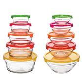 圓形玻璃冰箱保鮮碗帶蓋大小號收納便攜家用透明食品保鮮盒 DN12055【旅行者】