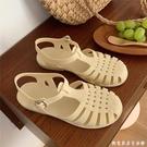 細細條 復古羅馬涼鞋女夏天韓國仙女風ins學生鏤空編織平底果凍鞋 創意家居