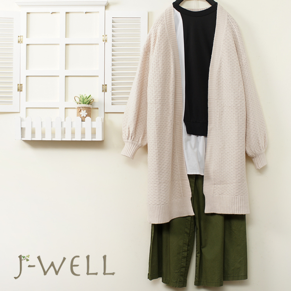 J-WELL 提織毛衣外套剪接拼色上衣寬褲三件組(組合A740 9J1071黑+9J1157米+8J1533綠)