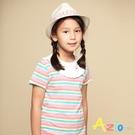 Azio 女童 上衣 領口白色荷葉造型彩色橫條紋短袖上衣(彩條) Azio Kids 美國派 童裝
