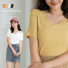 現貨◆PUFII-針織上衣 素色坑條V領...