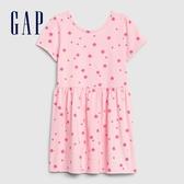 Gap女幼舒適印花圓領短袖洋裝576025-純色童趣印花