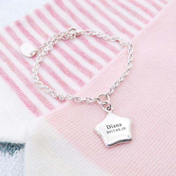 小星星-刻字款925純銀兒童手鍊 親子銀飾