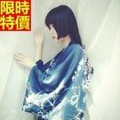 和服外套-鳳凰印花寬鬆絲綢和風防曬女罩衫68af2【時尚巴黎】