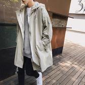 男士中長款韓版帥氣寬鬆連帽夾克外套春秋季風衣潮男秋裝休閒大衣