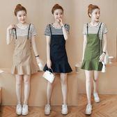 中大尺碼 夏季學生修身顯瘦氣質兩件式荷葉邊條紋套裝洋裝 DN7340【野之旅】