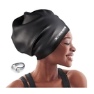 [2美國直購] Keary 超大號泳帽 矽膠材質 保護髮型 適用長髮 辮子頭 捲髮 黑/紫/白