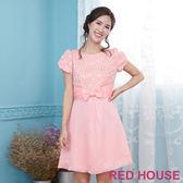 Red House 蕾赫斯-花朵剪接蝴蝶結澎袖洋裝(粉色)