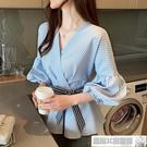 V領T恤衫 設計感小眾洋氣時尚chic春秋冬女長袖條紋襯衫設計感上衣