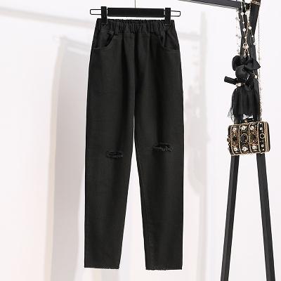 S-5XL胖妹妹牛仔褲黑色顯瘦洗水破洞牛仔褲 S-XL四個碼數MC077愛尚布衣