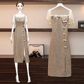 洋裝 大碼女裝收腰旗袍裙氣質顯瘦格子連身裙子-Ballet朵朵