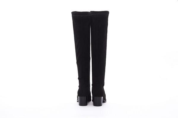 MICHELLE PARK 顯瘦美腿彈力絨質及膝靴長靴-黑