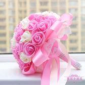 結婚婚禮新娘手捧花仿真花 韓式 大束金邊玫瑰28cm 婚慶用品  居家物語