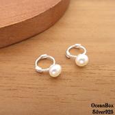 ☆§海洋盒子§☆耳骨專用。質感迷你珍珠小圈圈針式易扣925純銀耳環