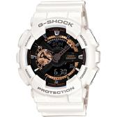 CASIO G-SHOCK 超重型戰機雙顯運動錶(白玫瑰金)