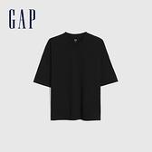 Gap男裝 純棉厚磅純色圓領短袖T恤 662321-黑色