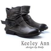 ★2017秋冬★Keeley Ann個性玩酷~腳踝繫帶鞋頭擦色真皮短靴(灰色)