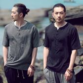 仿棉麻中國風男裝T恤寬鬆短袖大碼寬鬆仿亞麻復古T恤