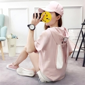 夏裝韓版連帽刺繡套頭短袖t恤女上衣學生寬鬆大碼可愛兔耳朵體恤 美芭