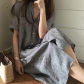 襯衫 條紋翻領五分袖長版襯衫連身裙 艾爾莎【TAE6642】