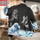 和服外套防曬衣中國風道袍男女情侶國潮漢服開衫和服寬鬆潮夏季日式薄外套 快速出貨