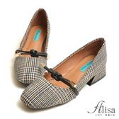 專櫃女鞋 復古格紋扭結方頭跟鞋-艾莉莎Alisa【2531889】黑色下單區