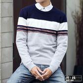 『潮段班』【HJ000A36】冬季新品潮流文青風格條文拼色針織長袖上衣