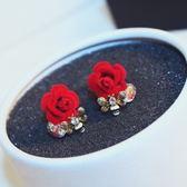耳環 玫瑰金純銀鑲鑽-高貴花朵生日情人節禮物女飾品73ca250【時尚巴黎】
