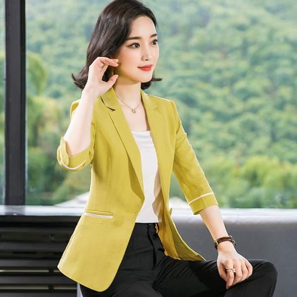 辦公時尚亮色單釦七分袖搭配西裝外套(4色)[8X220-PF]美之札