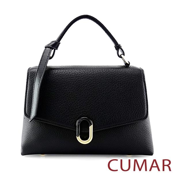 CUMAR  信封掀蓋兩用斜背包-經典黑色