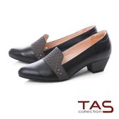 TAS 幾何沖孔素面拼接樂福粗跟鞋-實搭黑