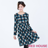 RED HOUSE-蕾赫斯-格紋蝴蝶結蛋糕洋裝(藍色)