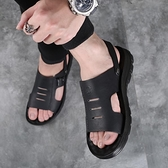 男士拖鞋2021新款軟底防滑牛皮兩用沙灘鞋中老年爸爸開車涼鞋 露露日記