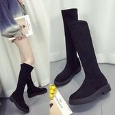 膝上靴彈力平底中筒靴女2017冬季新款磨砂高筒長筒靴百搭厚底不過膝長靴 童趣