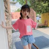 女童短袖T恤 女童短袖T恤夏裝2020新款洋氣女孩體恤中大童時尚韓版夏季上衣潮t