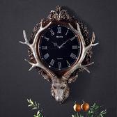 歐式美式復古大氣藝術鐘錶掛鐘創意北歐客廳時鐘鹿頭壁掛靜音壁鐘jy 七夕節禮物八八折下殺
