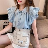 娃娃領上衣襯衫女夏韓版新款娃娃領洋氣小清新上衣飛飛袖小眾設計感襯 快速出貨