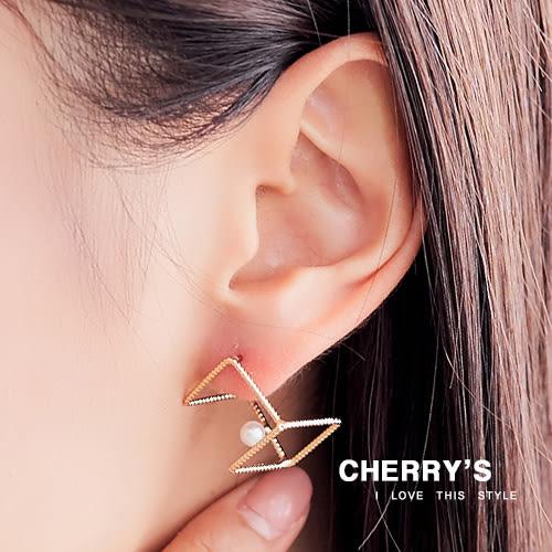 設計感立體幾何造型耳環  【櫻桃飾品】【10451 】