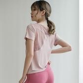 全館83折運動上衣網紗美背跑步罩衫健身t恤女速干寬鬆顯瘦瑜伽服短袖薄夏