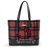 〔小禮堂〕Hello Kitty Black 絨毛皮質肩背包《紅黑》側背袋.蘇格蘭紋生日慶 4901610-06267