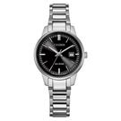 【台南 時代鐘錶 CITIZEN】星辰 光動能 PAIR 對錶 日期 光動能 鋼錶帶女錶 EW2591-82E 黑 29mm