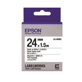 【高士資訊】EPSON 24mm LK-6WB2 磁鐵 白底黑字 原廠 盒裝 防水 標籤帶