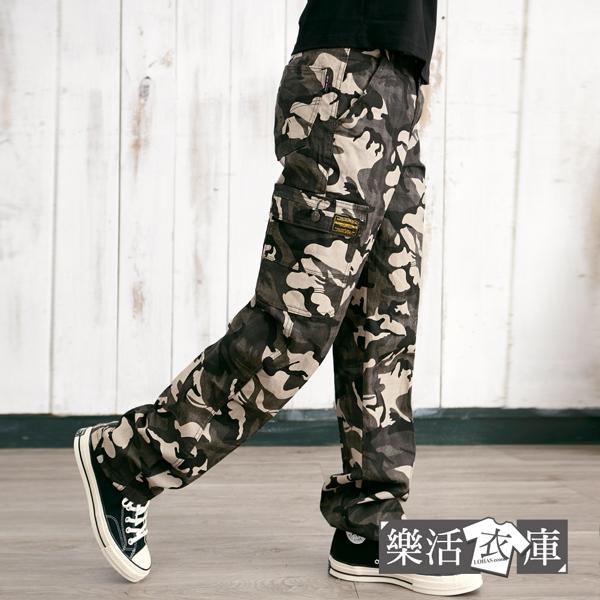 【7469-7470】美式迷彩布標多口袋休閒長褲 工裝褲(共二色)● 樂活衣庫