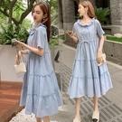 洋裝短袖裙子中大尺碼M-4XL新款韓版寬...