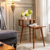 E-home 史蒂芙尼實木造型邊桌-原木