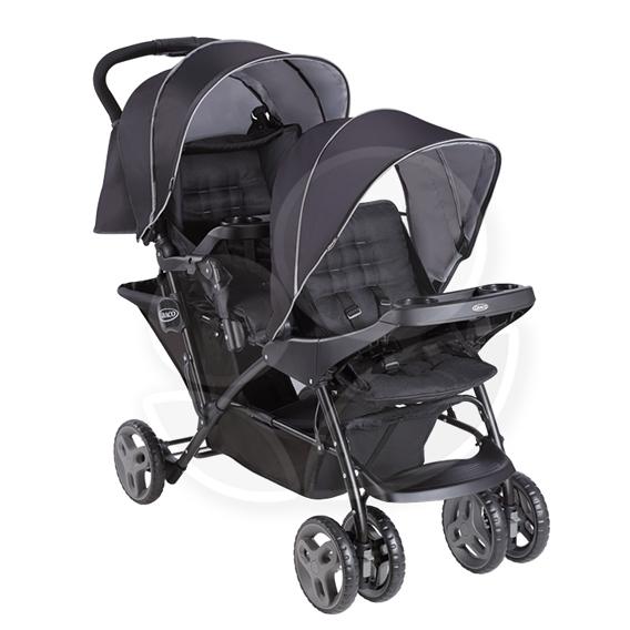 Graco Stadium Duo 城市雙人行 雙人前後座嬰幼兒手推車-探險黑【佳兒園婦幼館】