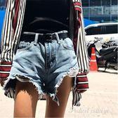 藍色毛邊熱褲女2018夏季新款韓版百搭五分褲高腰破洞牛仔短褲女潮  蒂小屋服飾