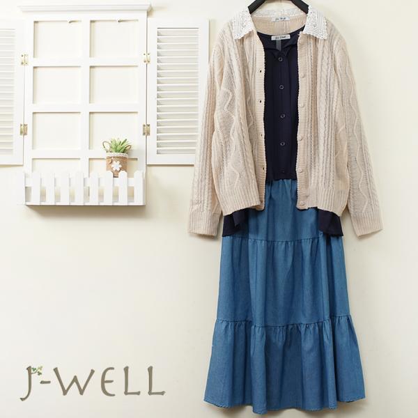 J-WELL 寬鬆簡約T 針織外套牛仔蛋糕裙三件組(組合A741 9J1070藍+9J1103米+8J1522中藍)