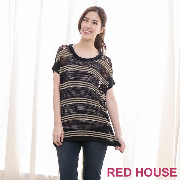 【RED HOUSE-蕾赫斯】簍空金蔥條紋罩衫(共二色)