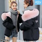 【V9120】shiny藍格子-保暖首選.冬季大毛領加厚羽絨棉外套